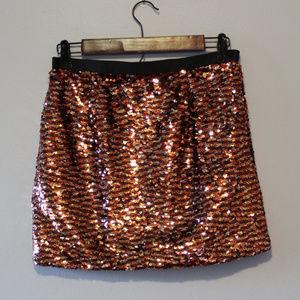 ❤💖 Glamorous Short Mini Skirt Rust Sequin
